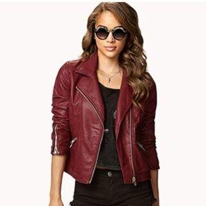 Forever 21 Burgundy Secret Rebel Moto Jacket